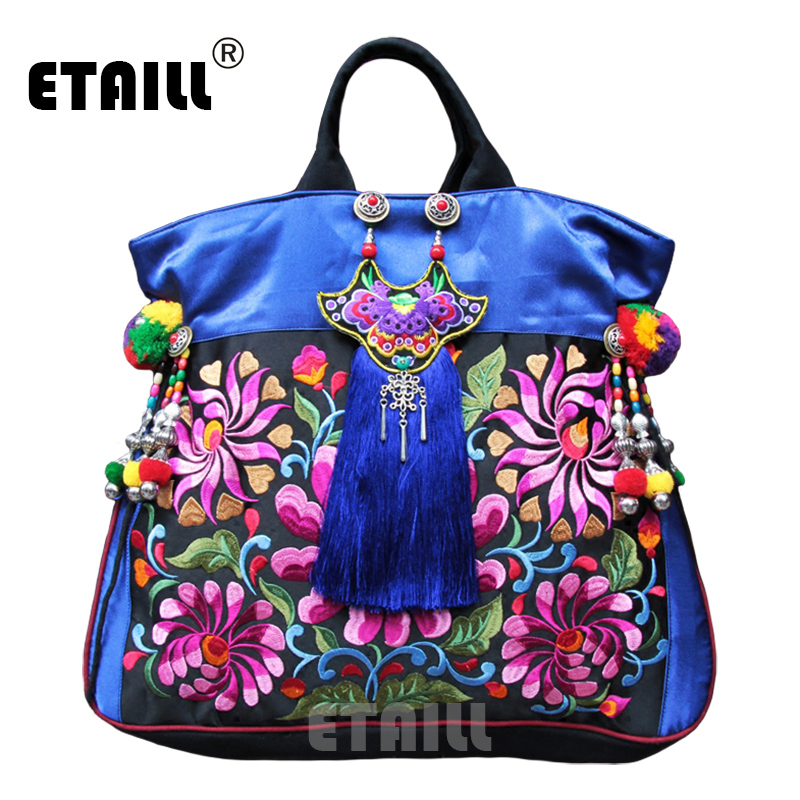 Aliexpress Fl Pompom Embroidery Bags Vintage Ethnic Thailand Boho Indian Women Brand Embroidered Shoulder Handbags Sac A Dos Femme From