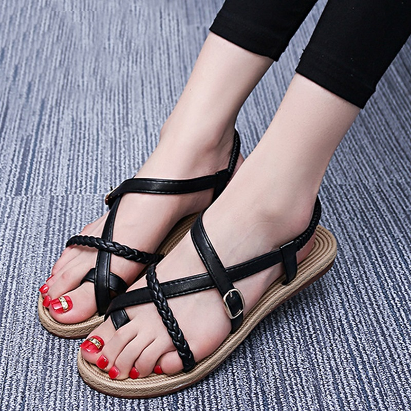 flat sandals for women 2018 new summer casual flat heels ankle strap women sandals ladies fashion comfy platform beach sandals women sandals fashion straw shoes woman summer wedges sandals ankle strap casual ladies flat sandals