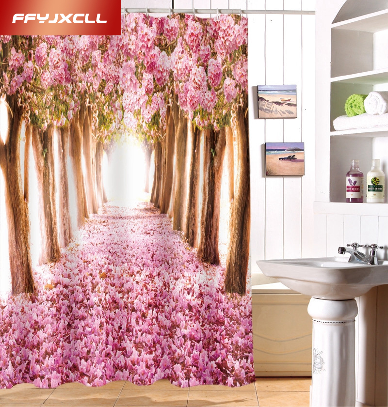 Polyester Shower Curtain 3D Cherry Blossoms Nature Modern Design Waterproof  Fabric Curtains For Bathroom