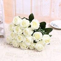 Adorável Bonito Barato 18 Cabeças/Bouquet Artificial Flor Flanela Rosa Flor Nupcial Do Casamento Bouquet Home Decor 2 Cor Livre grátis