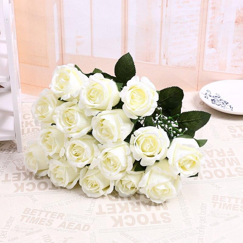 Krásné roztomilé levné 18 hlav / kytice umělé květiny flanelové růže květ svatební svatební kytice domácí dekor 2 barva doprava zdarma  t