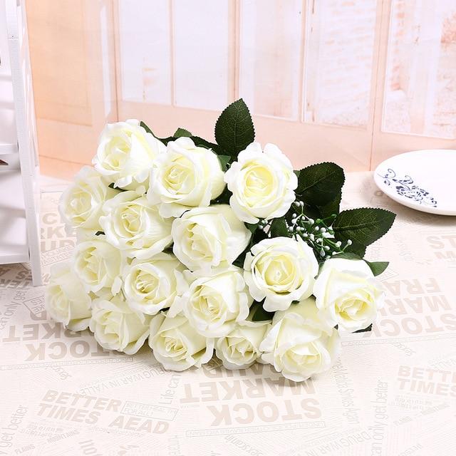 Lovely Cute Cheap 18 Heads/Bouquet Artificial Flower Flannel Rose ...