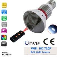 BC-783M 3.6mm Lentille Maison 720 P Hd Ampoule Ip Support de caméra 433Hz Alarme Capteur de Vision Nocturne Lampe IP Cam SD Max 32G