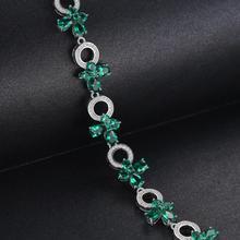 Butterfly Shape 6.8ct Created Emerald Tennis Bracelet For Women