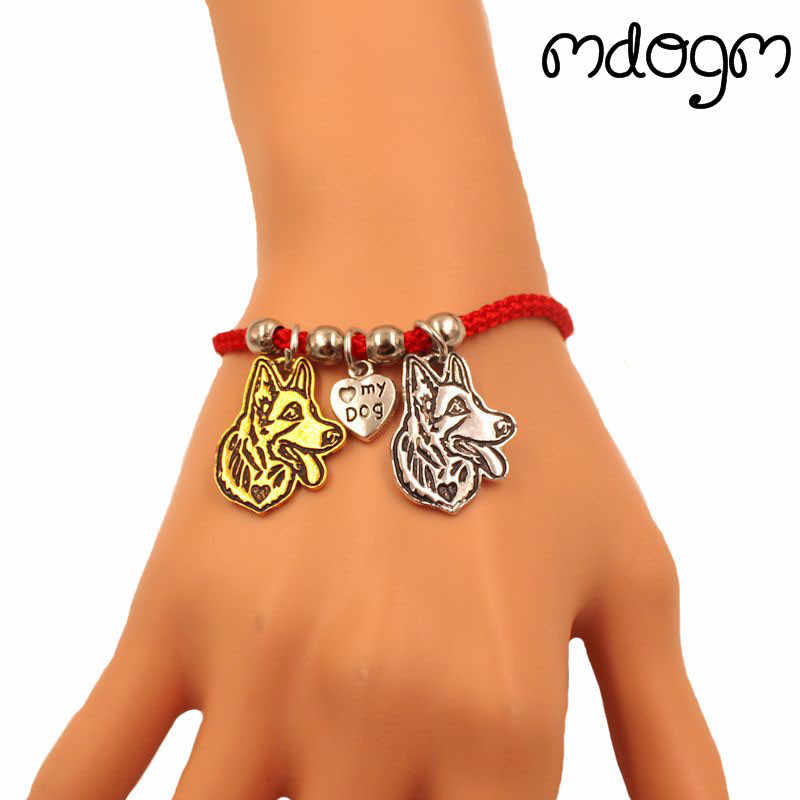 German Shepherd Dog Animal Charm Bracelet For Women Men Couple Love Rope Male Female Pearl Red Heart Black Girls  jewelry Gift
