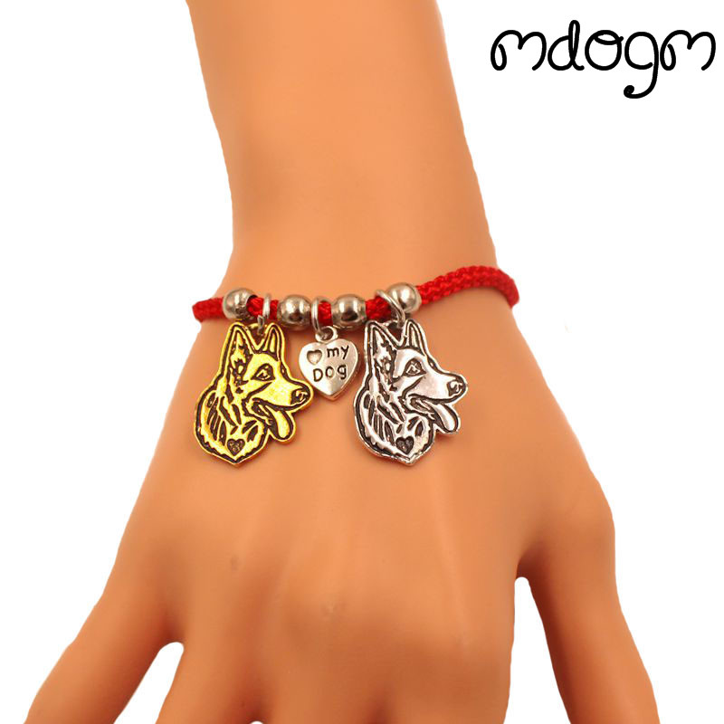 German Shepherd <font><b>Dog</b></font> Animal Charm <font><b>Bracelet</b></font> For Women Men Couple Love Rope Male Female Pearl Red Heart Black Girls jewelry Gift image