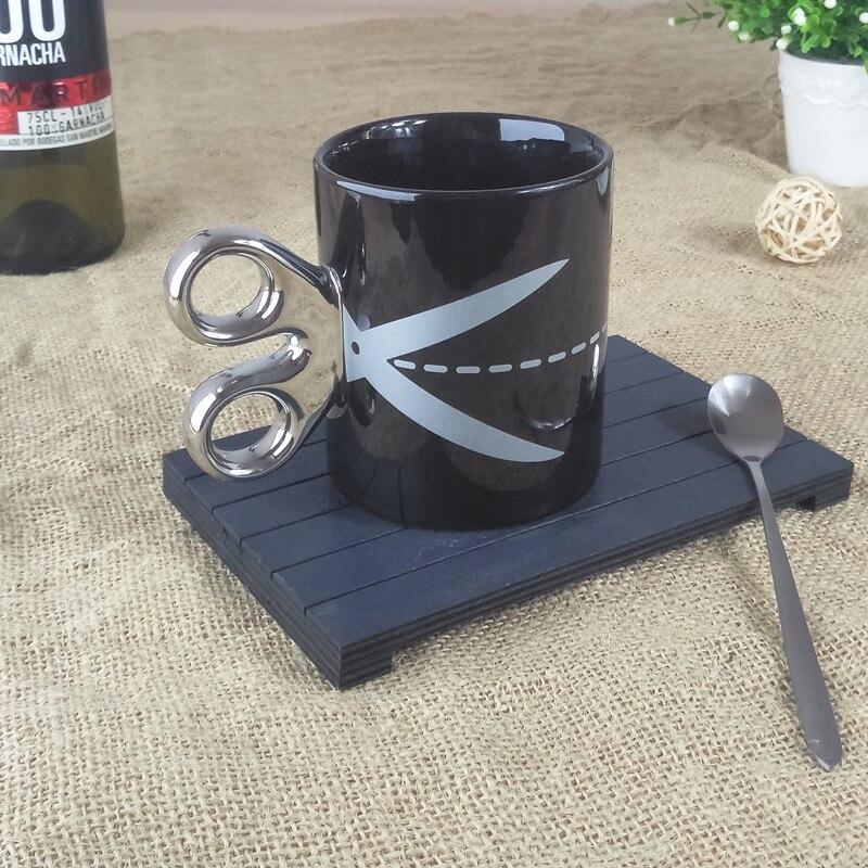 Nouveaux ciseaux poignée tasse avec sous-titers passion police tasse à café noir blanc tasse cadeau d'anniversaire tasse potable ustensiles 6ZDZ258