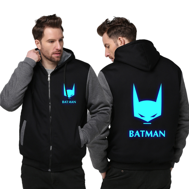 USA size Batman The Dark Knight Men Women Cosplay Luminous Zipper Jacket Sweatshirts Thicken Hoodie Coat