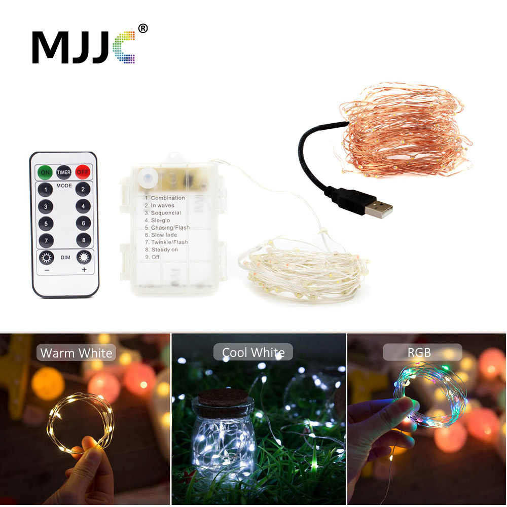 Fairy Light With Timer 2M 20 Christmas Lights Outdoor Decoration Battery Operated LED String Timer Remote 10M Copper Lamp USB