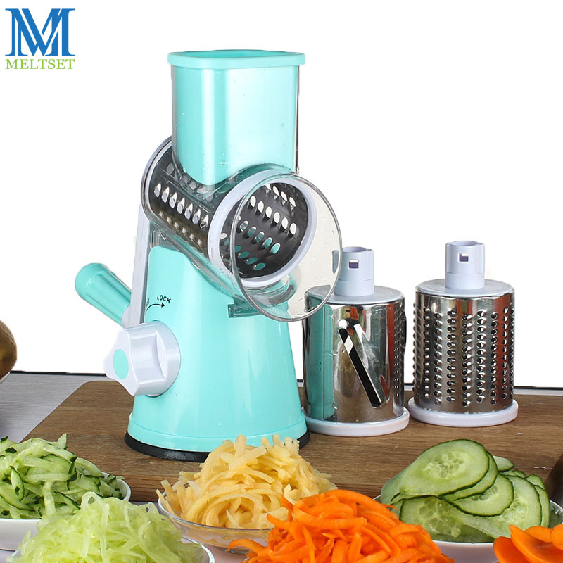 US $24 49 25% OFF|Multifunctional Mandoline Slicer Manual Drum Vegetable  Cutter Shredder with 3 Stainless Steel Blade Potato Carrot Cheese Grater-in