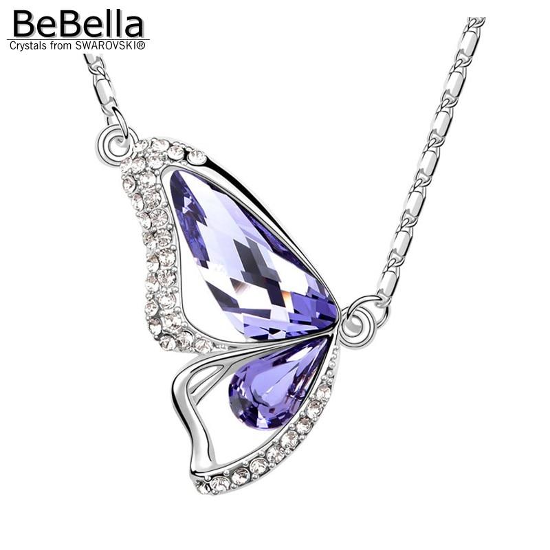 BeBella Кристальное ожерелье с подвеской в виде бабочки с кристаллами Swarovski для женщин, девочек и детей, рождественское модное ювелирное изделие, подарок - Окраска металла: Tanzanite
