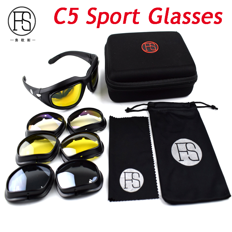 C5 C6 Shooting Glasses Men War Game Tactical Polarized FS X7 Sunglasses Outdoor Sport Goggles With 4 Lenses Eyewear