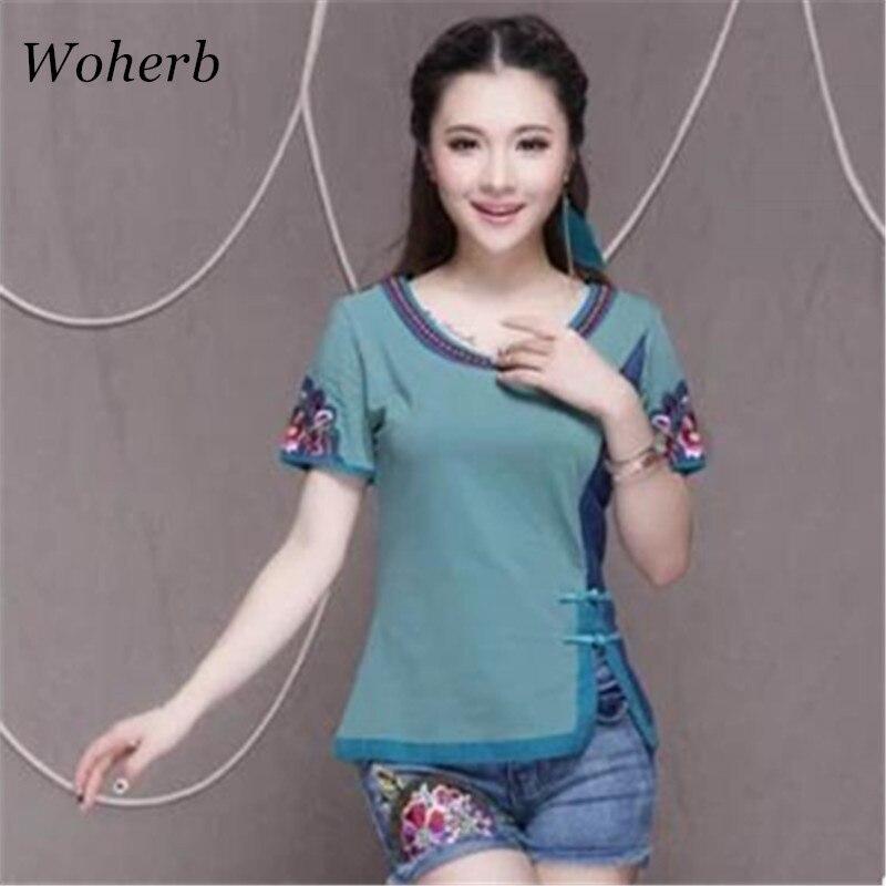 Woherb 2019 New Arrival Summer O-Neck Short Sleeve T Shirt Fashion Floral Embroidery Slim Casual Folk-customT Shirts 74276