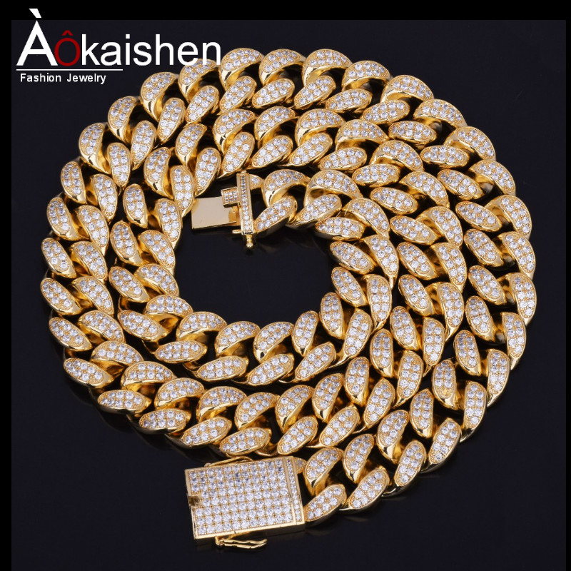 Finish Men s 20mm Heavy Iced Out Zircon Miami Cuban Link Necklace Choker Bling Bling Hip