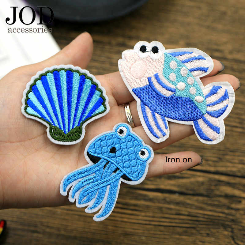 JOD Cartoon Fish Aquarium Ironing Embroidery Patch for Clothing Stickers Animal Applique Stickers Children Thermo Applications