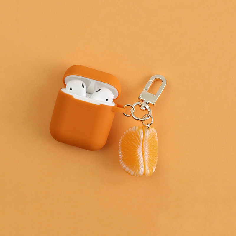 Orange Silicone Case for Apple Airpods Bluetooth Wireless Earphone Accessories Air pods Headset Headphone Protective Cover