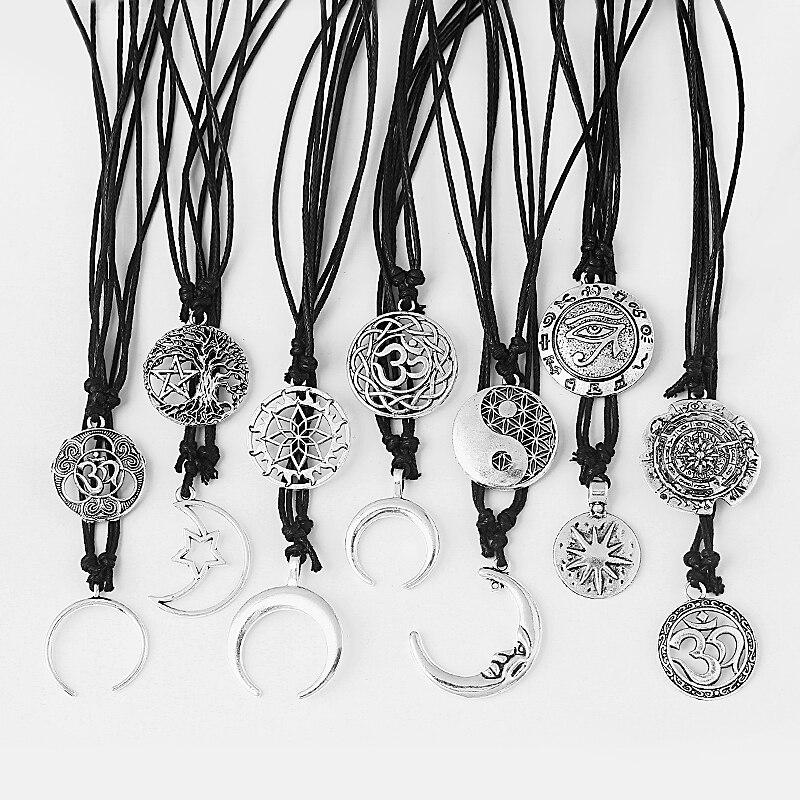 1 Pcs Fashion Handgemaakte Ketting Yoga/lotus/moon Star/bull Horn Charms Hanger Ketting Sieraden Gift Voor Mannen & Vrouwen Prijs Blijft Stabiel