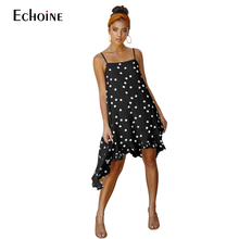 цены на 2019 Summer Polka Dot Dress  Asymmetric Women Boho Dresses Sexy loose elegant Strap Sleeveless Chiffon Long Beach Vestidos  в интернет-магазинах