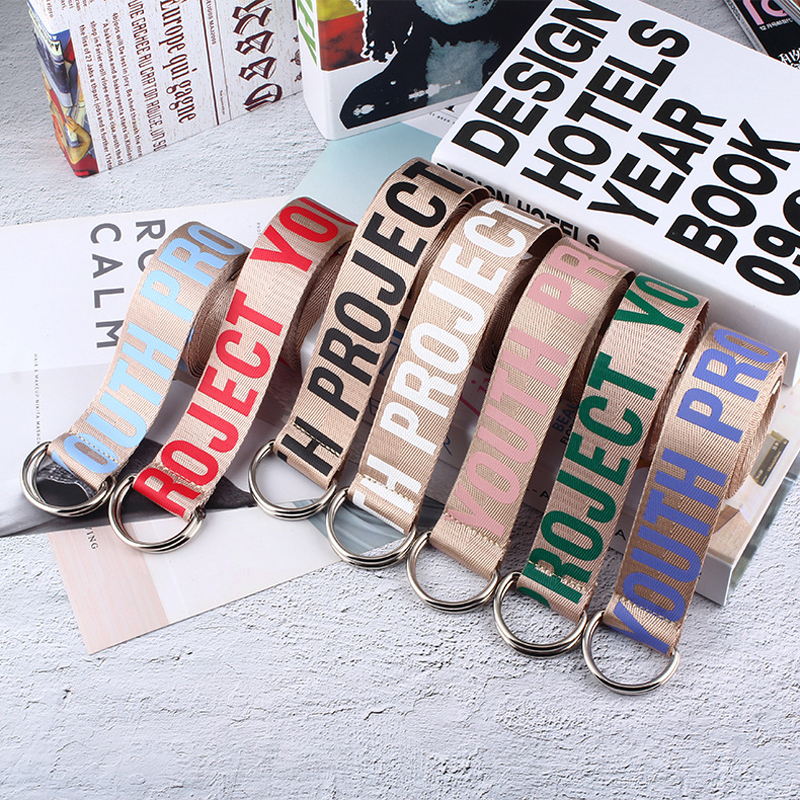 Women Jeans Belt Fashion Letter Printed Unisex Double D Ring Canvas Strap Female Long Belts For Girl Jeans Decoration Belts H101