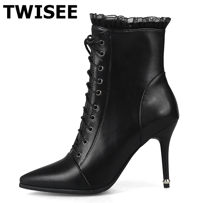 TWISEE Thin Heels Women Ankle Boots pu Leather Lace Up High Heel Pointed Toe Supper Quality Woman New Fashion Shoes SBB250 new women boots sexy high heels platform rivet ankle boots for women thin heel lace up night high heel boots dancing shoes