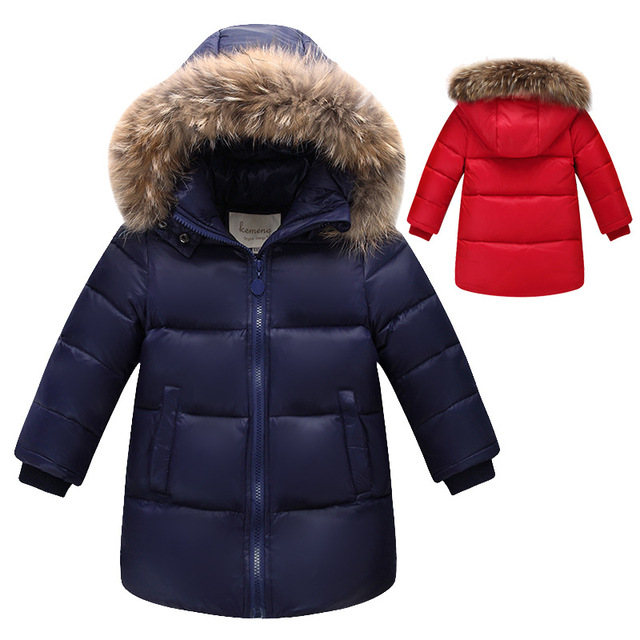 2017 Winter Children Down Jackets For Boys Girls 90% White Duck Down Coats Clothing  High Quality Detachable Cap Kids Outerwear