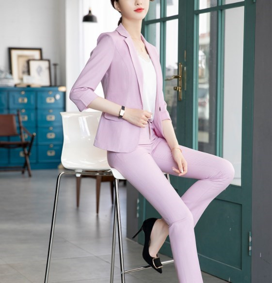 2019 Summer Black Yellow Pink Office Work Pant Suits for Women 3/4 Sleeve Blazer Pant Set Trouser Suit Womens Formal Pantsuit