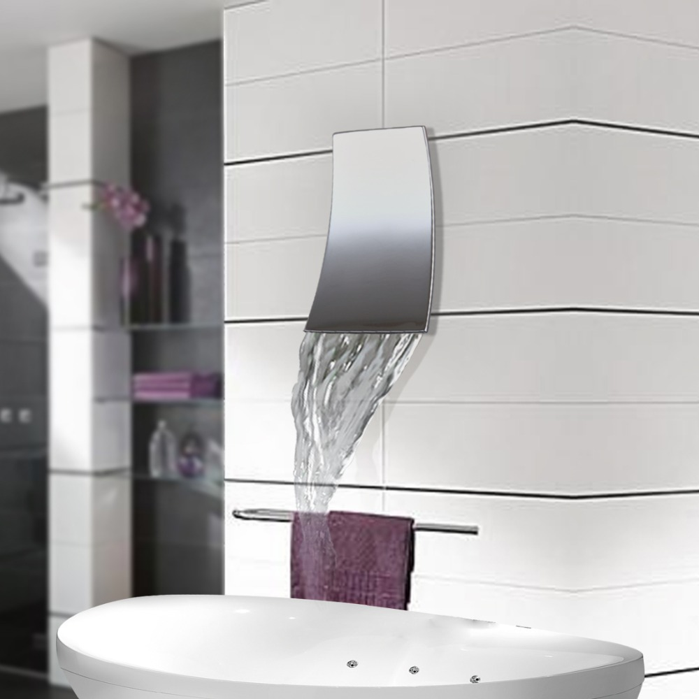Wall Mounted Waterfall Bathroom Faucet Chrome Brass Spout Vanity ...