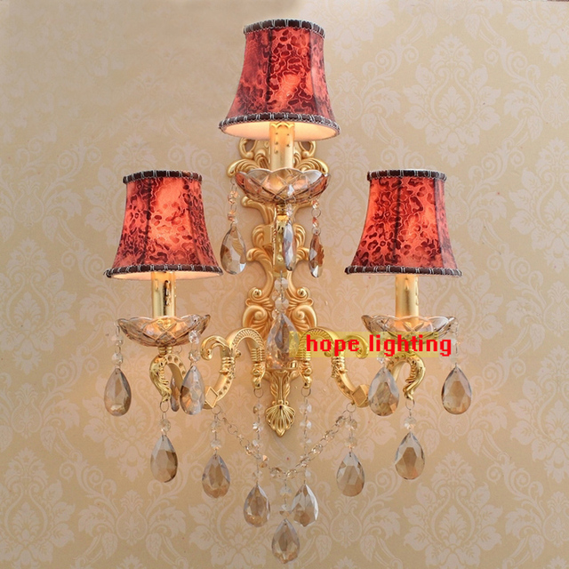 Elegant Three Lights Wall Sconces Hotel Wall Mounted Lamps Antique Wall Sconce Gold  Bronze Wall Lighting With