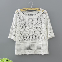 Women Sexy Blouses Half Sleeve Fashion Hollow Out Lace Shirt White 2017 Cotton Casual Crochet Summer