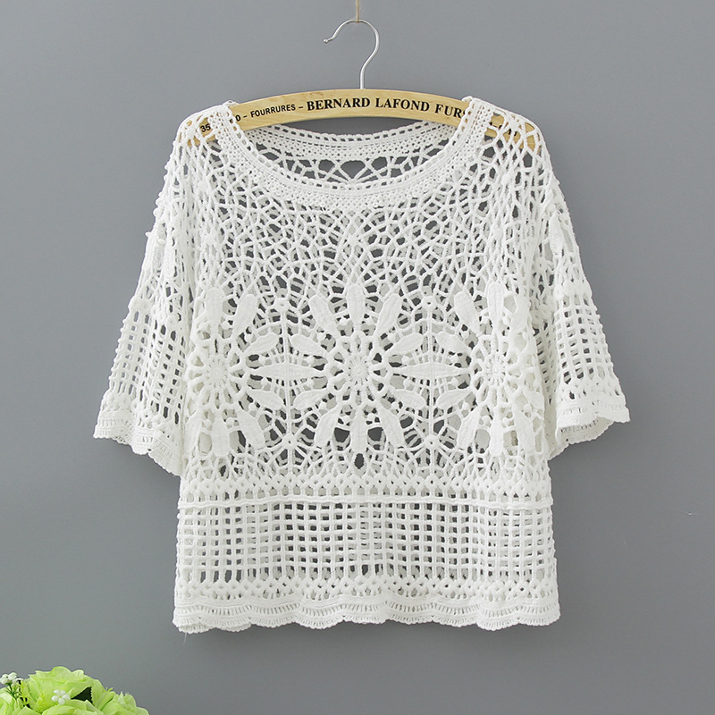 bd93752ebac0 Women Sexy Blouses Half Sleeve Fashion Hollow Out Lace Shirt White 2017  Cotton Casual Crochet Summer Tops Womens Clothing 1811