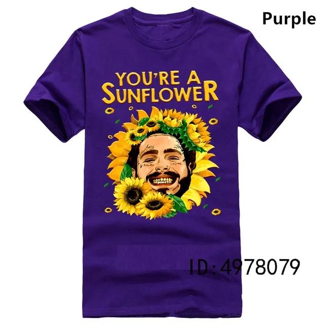 You're A Sunflower Post Malone American Rapper T Shirt Black Size S-3XL Summer New Men Cotton T-Shirt top tee