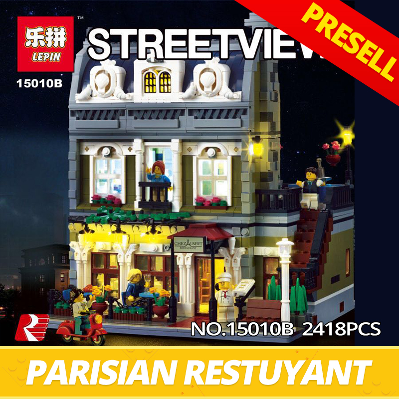 IN STOCK Lepin Building Bricks 15010B 10th Anniversary The Parisian Restaurant Set with Light Version Building Blocks Toys 10243 new lepin 15010 expert city street parisian restaurant model building kits blocks funny children toys compatible with 10243 gift