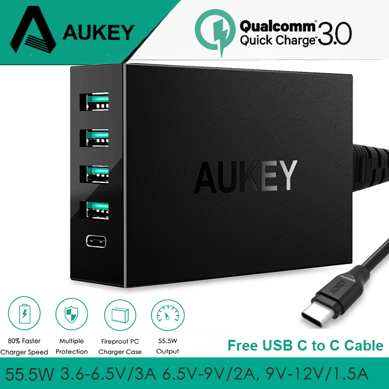 Type C Charger AUKEY USB Desktop Charger Quick Charge QC 3.0 Mobile Phone Smart Charger Type C Fast Charge for Xiaomi Galaxy S10