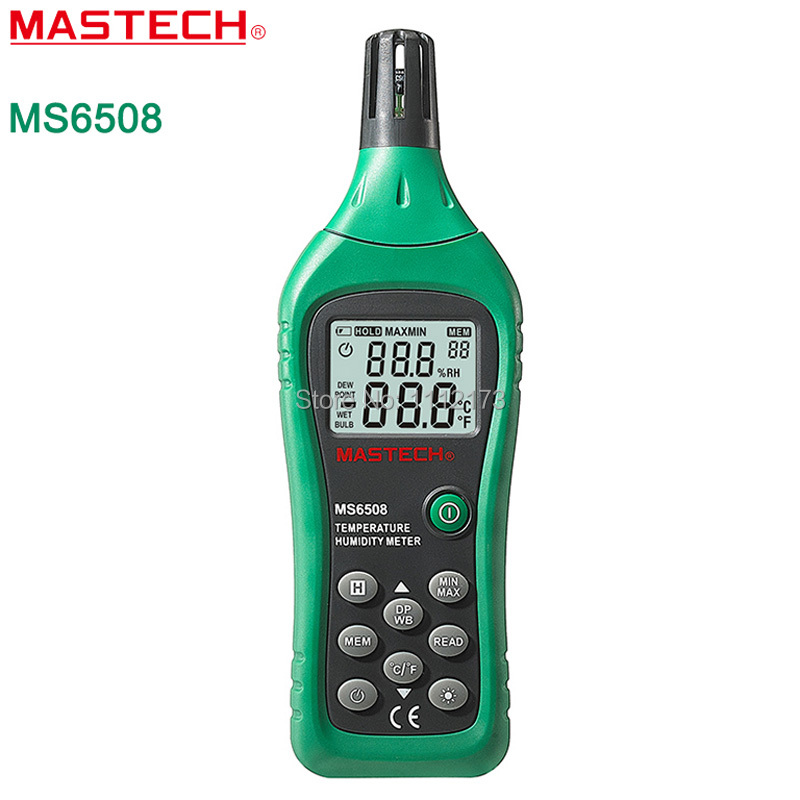 MASTECH MS6508 High PrecisionThermo-hygrometer Digital Temperature Humidity Moisture Meter Tester Thermometer mc 7806 digital moisture analyzer price with pin type cotton paper building tobacco moisture meter