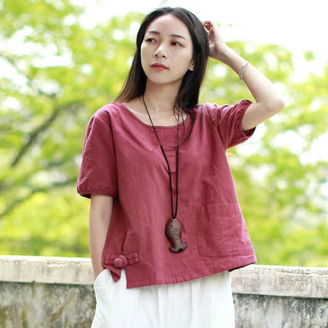LZJN 2018 Summer Tops Women Blouses Cotton Linen Red Shirt Traditional Chinese Clothing Camisas Female Blusas Femininas PX1800