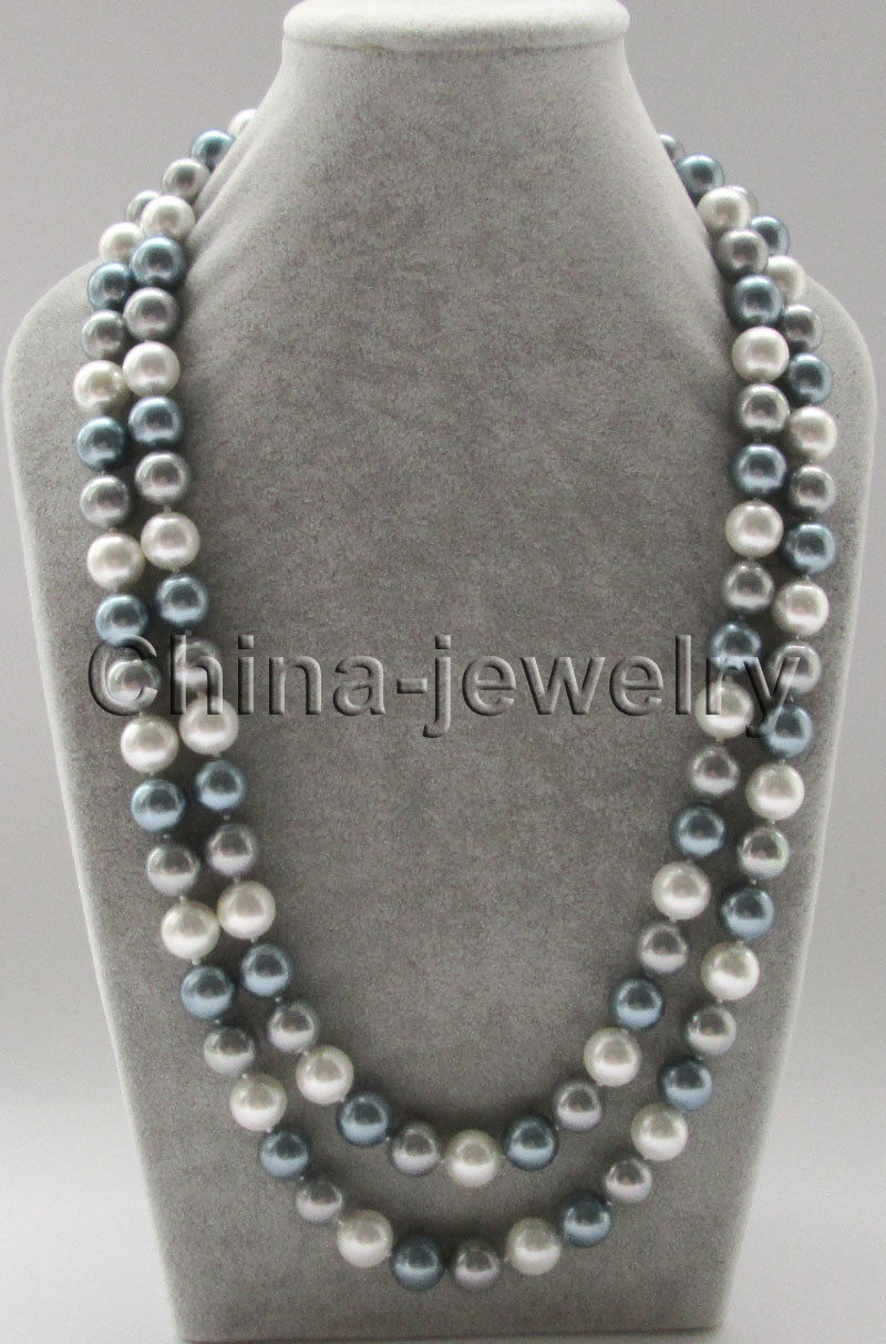FREE SHIPPING HOT sell new Style >>>> 50 longer 12mm white gray dark gray round south sea shell pearl necklace - 2