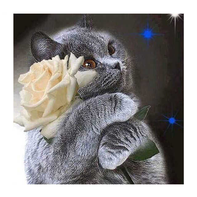 Full drilling Diamond Painting DIY cat and Rose 5D Diamond Embroidery Handmade  Cross Stitch Kits