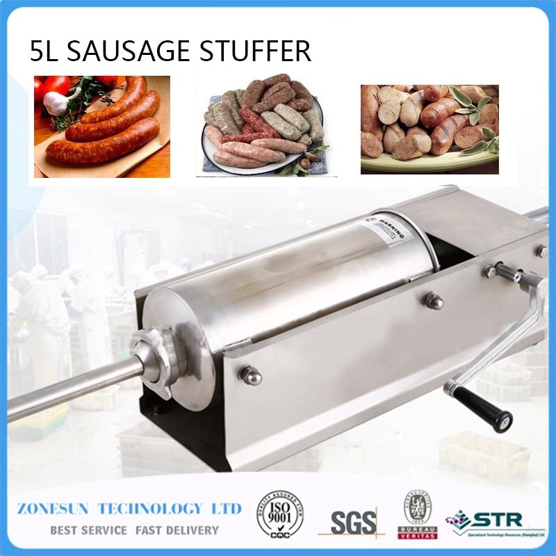 SF5-H Horizontal Type Manual Sausage Stuffer,stainless steel sausage stuffer,meat filler,sausage making machine,Sausage filler economic s steel manual s series sausage filler for hotel butcher home use and hunters