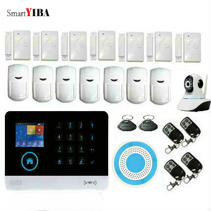 SmartYIBA SMS GPRS Burglar Alarm Kit  PIR Motion Detect Door Sensor WIFI APP Control HD IP Camera GSM Alarma For Home Protection original orvibo smart security kit alarm detector zigbee intelligent hub motion door sensor wifi ip camera app remote control