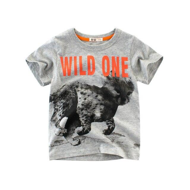 10e80a7d6 Summer Boys & Girls Short Sleeve T-shirts Animals Print Kids Cotton T Shirt  Tops For Boys Children Summer Clothing