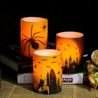 Halloween Pattern Led Candle Light Electronic Design Candle Party Decoration General Tools Wachskerzen Birthday Candles LKK057