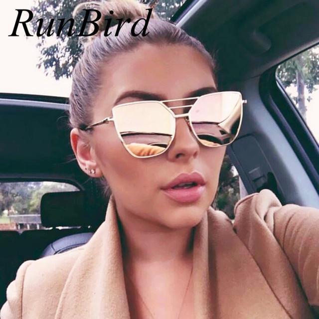 RunBird 2017 Baru Flat Top Rose Gold Pria Wanita Cermin Kacamata Fashion  Merek Desainer Kacamata Matahari 6a4b94549b