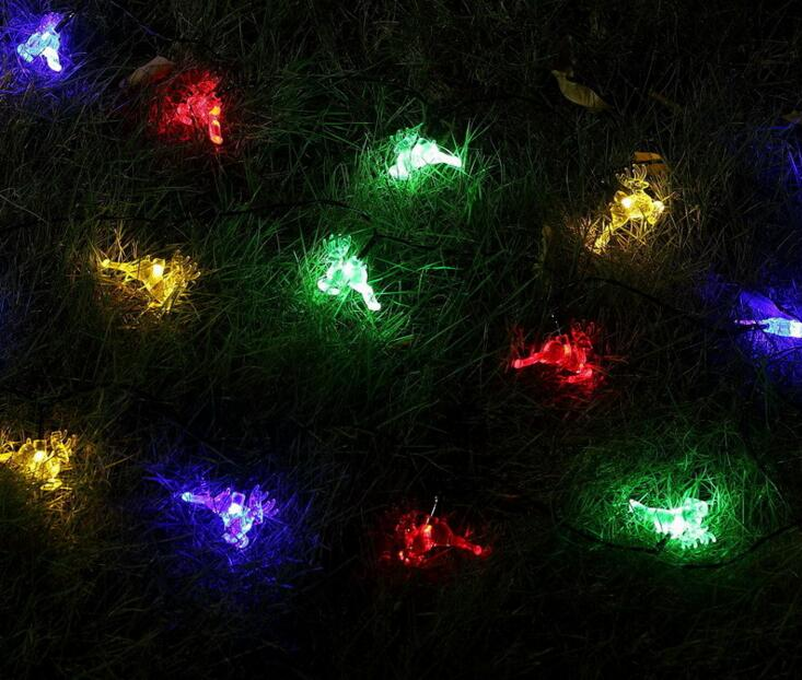 2pcs Solar Power LED Deer Lamp Light multicolour String Strap For Garland Wedding Christmas Venue Decoration