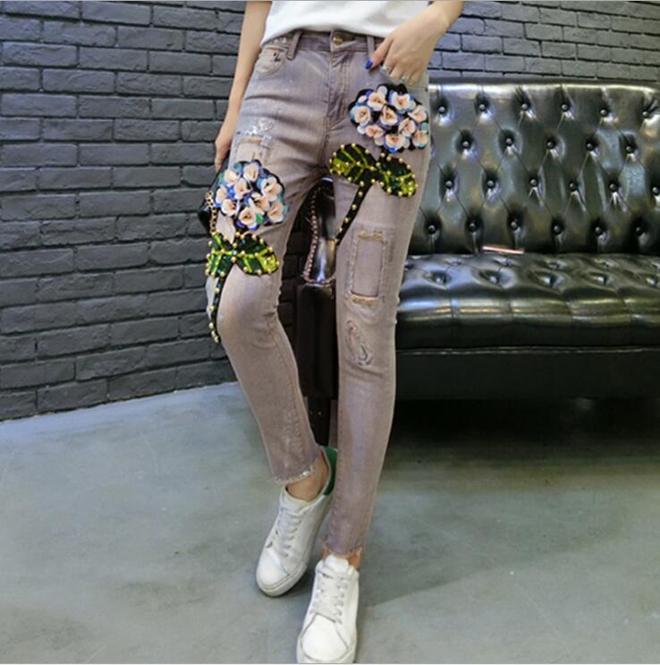 Matita Stirata Vita Di Del Dei Lunghezza Tridimensionale Jeans Pantaloni Picture Completa Donne Sottili Denim Metà As Fiore Della xwYOqpFI0