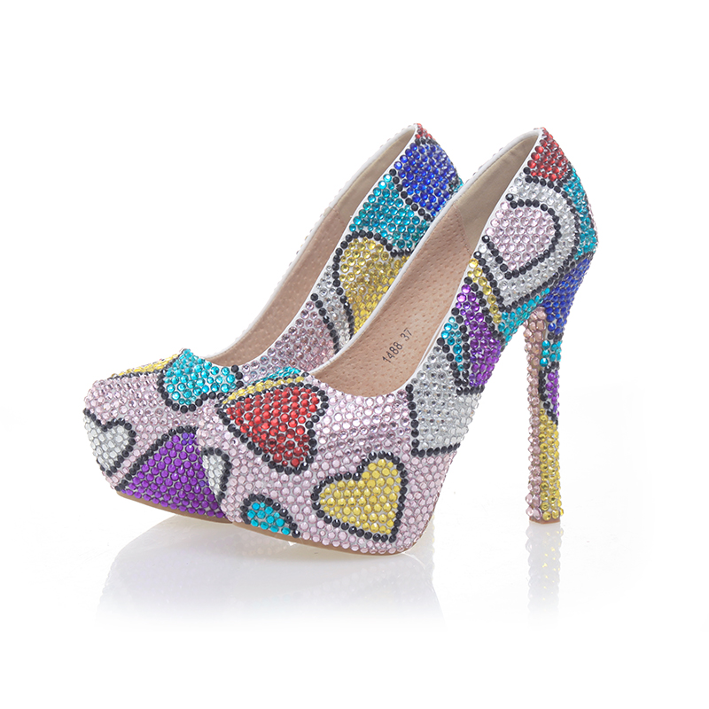 2017 Rhinestone Prom Party Shoes with Clutch Handmade Wedding Shoes High Heel Multicolor Cinderella Pumps with
