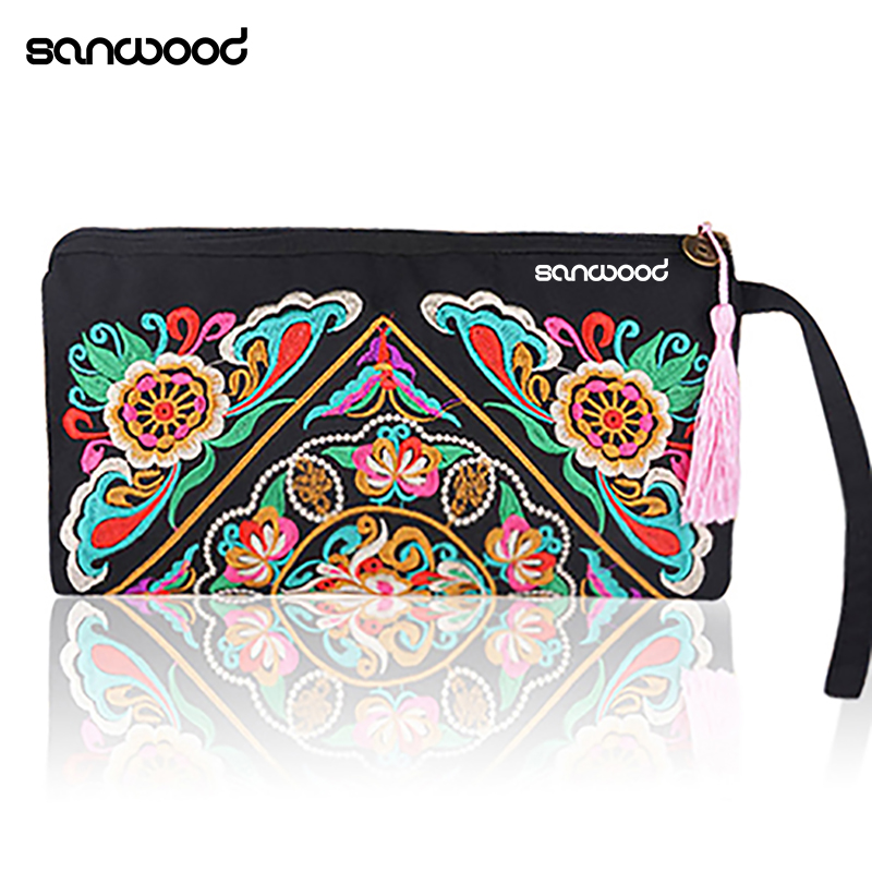 Purse Retro Embroidered Handbag Zipper-Bag Trendy Women with Tassel Phone-Coin-Storage