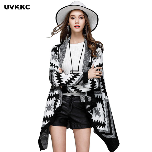 UVKKC Sweater For Women Knit Cardigans Long Christmas Sweaters Geometry Autumn And Winter Woman Jumpers Ladies Sweater Outwear