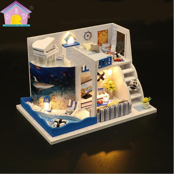 Dolls & Stuffed Toys Toys & Hobbies Audacious M040 Miniature Diy Puzzle Villa Model Wooden Building Dollhouse Toys Birthday Gifts Hongda New Arrive Perfect In Workmanship