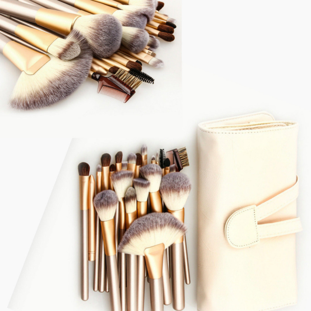 цена на Professional Pro 12/18/ 24 Pcs Champagne Gold Handle Makeup Tool Set Cosmetic Brushes Kit + Leather Pouch Bag maquiagem