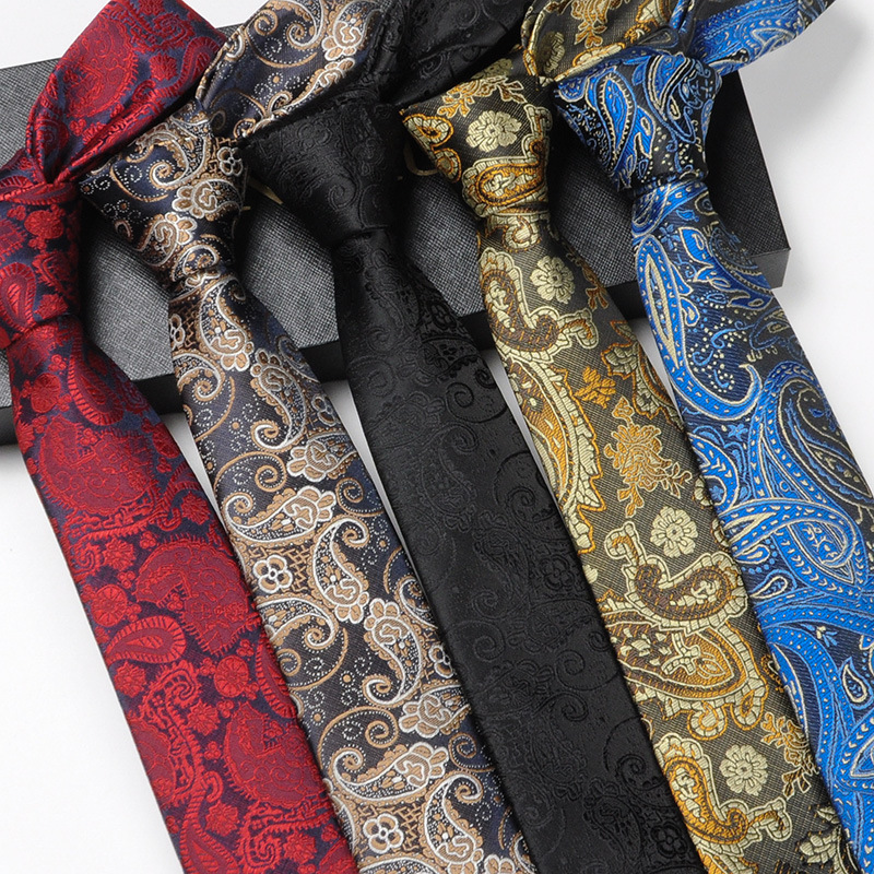 Fashion Mans Tie 6cm Slim High Quality Polyester Korean Skinny Formal Dress Leisure Paisley Neckties Wedding Party Gift